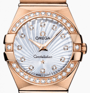 Women's Favorite Omega Constellation Quartz Fake Watches With Red Gold Bracelets