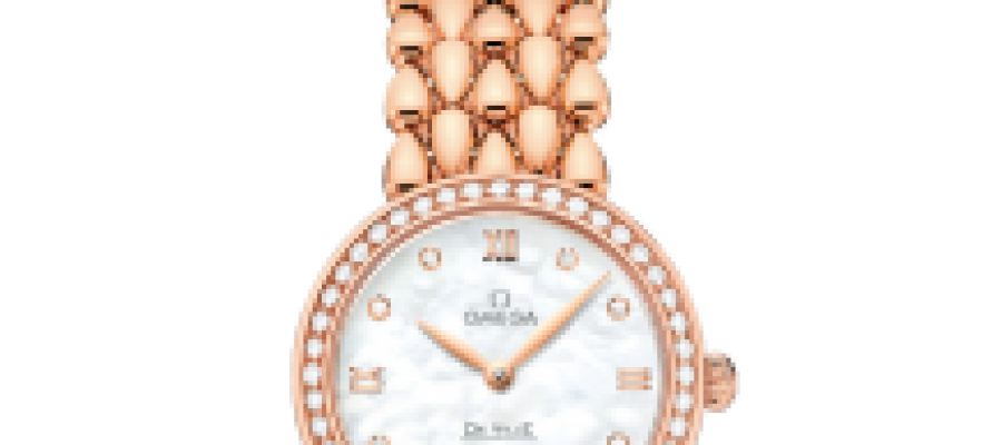 Replica Women's Omega De Ville Prestige 27.4 MM Dewdrop Red Gold Watches With Diamonds
