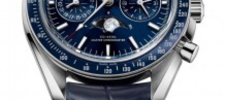 Fake Omega Speedmaster Moonphase Chronograph Blue Dial Steel Watch